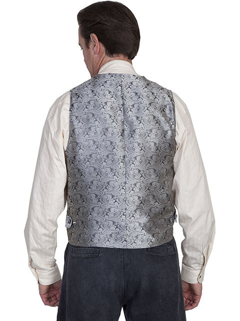 Scully Mens Rangewear Old West Vest with Wide Lapels Grey Back