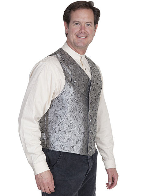 Scully Mens Rangewear Old West Vest with Wide Lapels Grey