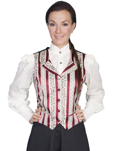 Scully Ladies Rangewear Old West Collection Floral Stripe Vest Front