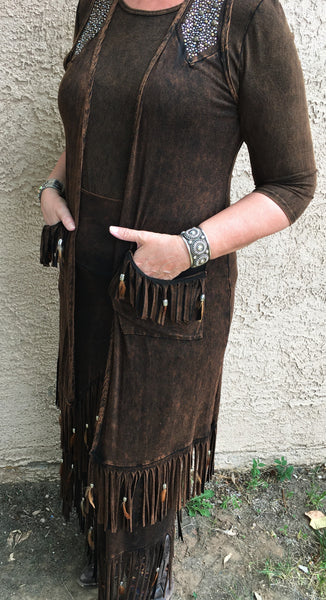Designs by Pat Dahnke Feathered Fringe Long Vest Side