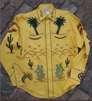 Vintage Inspired Western Shirt Mens Rockmount Embroidery Palm Trees Gold Front