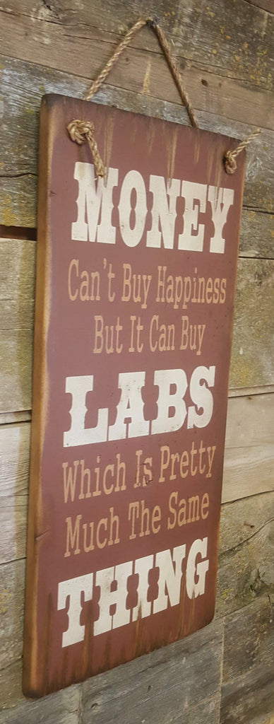 Western Wall Sign Money: Money Can't Buy Happiness But It Can Buy Labs Left View