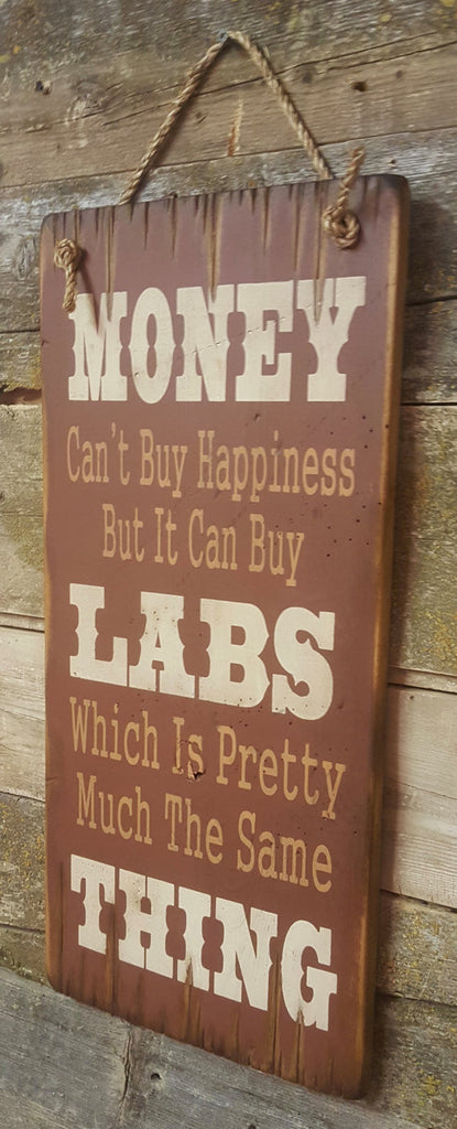 Western Wall Sign Money: Money Can't Buy Happiness But It Can Buy Labs Right View