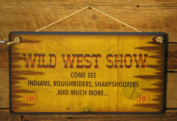Western Wall Sign Vintage: Wild West Show Bright Yellow