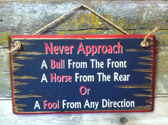 Western Wall Sign: Never Approach A Bull From The Front