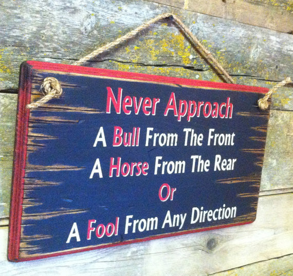 Western Wall Sign: Never Approach A Bull From The Front Left Side