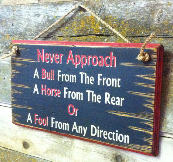 Western Wall Sign: Never Approach A Bull From The Front Right Side