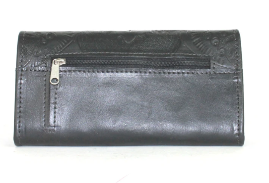 American West Basket Weave Tri-Fold Wallet Black Back