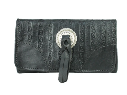 American West Basket Weave Tri-Fold Wallet Black Front