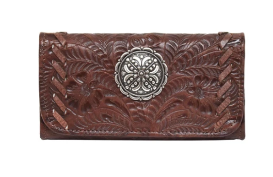 American West Lariats & Lace Tri-Fold Wallet Dark Brown
