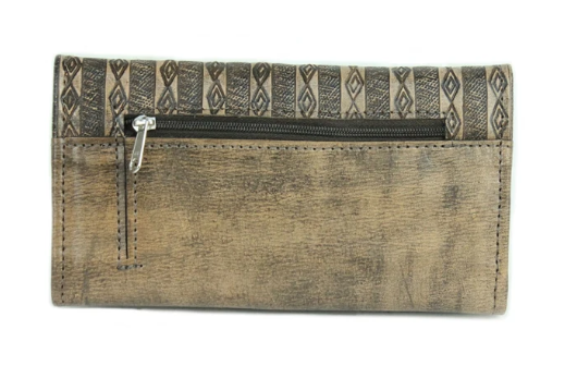 American West Basket Weave Tri-Fold Wallet Distressed Charcoal Back