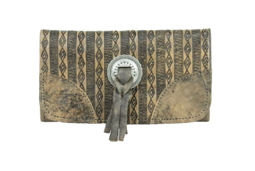 American West Basket Weave Tri-Fold Wallet Distressed Charcoal Front