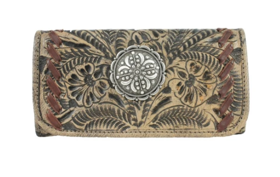 American West Lariats & Lace Tri-Fold Wallet Natural Tan