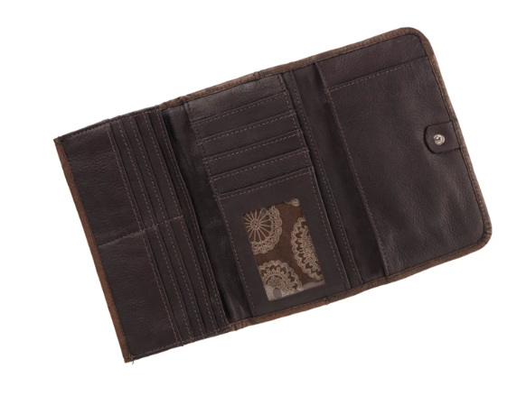 American West Basket Weave Tri-Fold Wallet Interior
