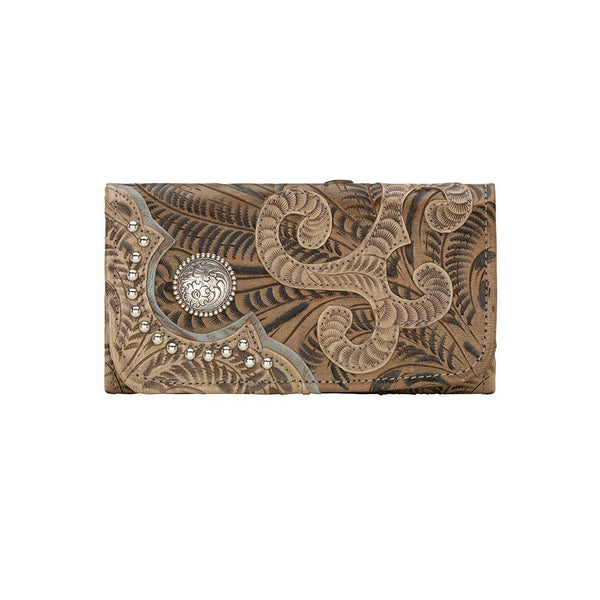 American West Annie's Secret Tri-Fold Wallet Tooled Decorated Brown