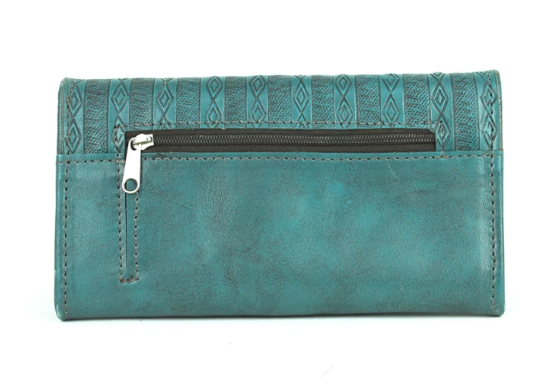 American West Basket Weave Tri-Fold Wallet Turquoise Back