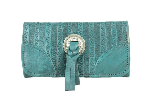 American West Basket Weave Tri-Fold Wallet Turquoise Front