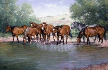 "Art Ceramic Tile ""Cool Water"" by Western artist Jack Sorenson"