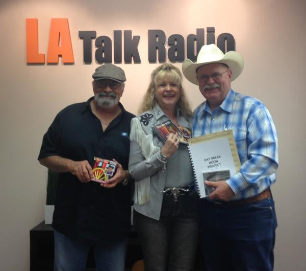 John Bergstrom (R) on The Writer's Block with hosts Jim Christina and Bobbi Jean Bell
