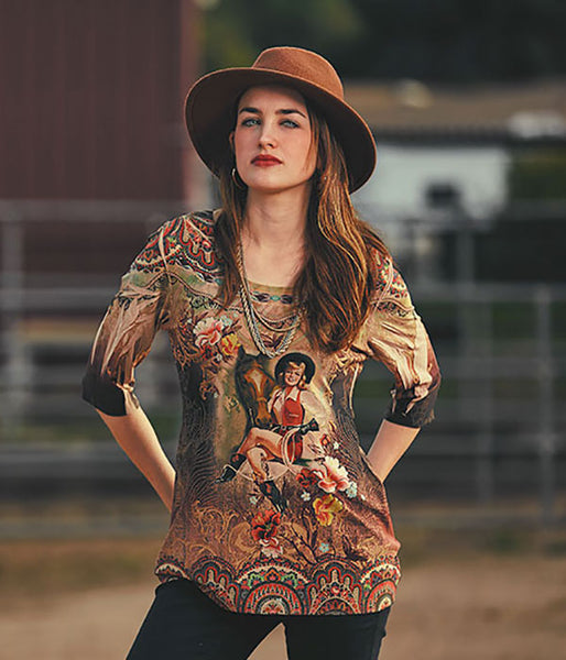 Ladies' Fantazia Apparel 3/4 Sleeve Top Western Girl Front