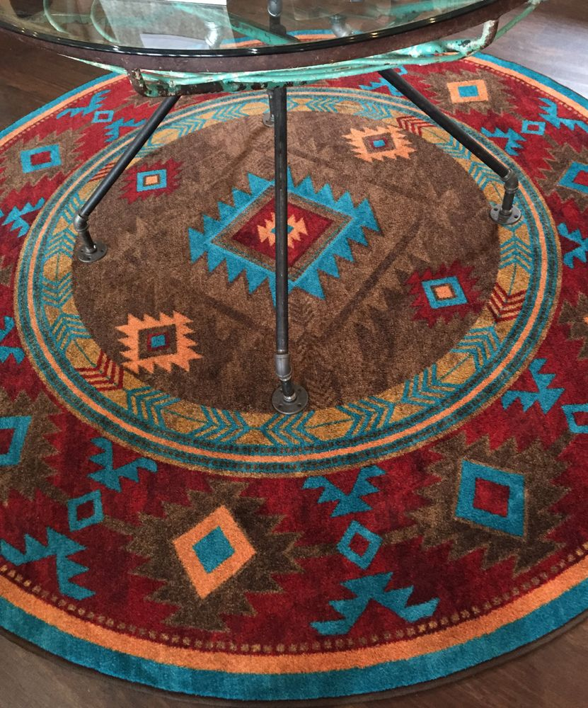 American Dakota Rug Turquoise Round on Floor