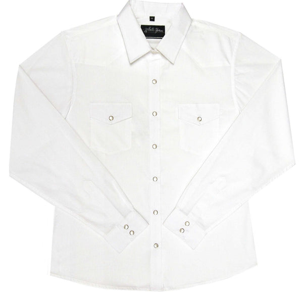 White Horse Apparel Women's Western Shirt Broadcloth White
