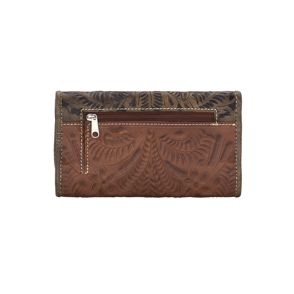 American West Handbag, Wildflower Desert Tri-fold Wallet Back Antique Brown