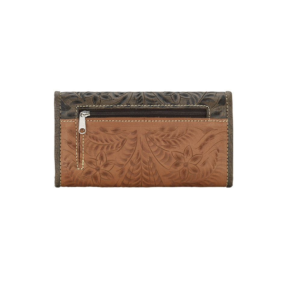 American West Handbag, Wildflower Desert Tri-fold Wallet Front Golden Tan