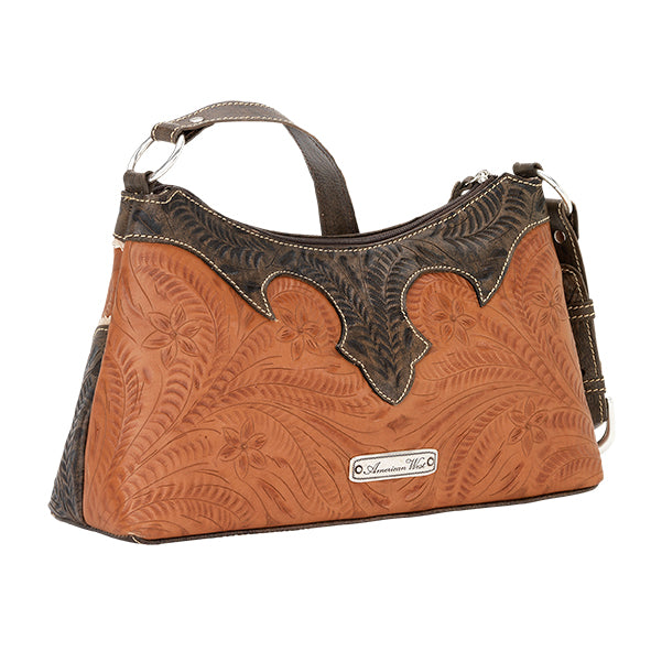 American West Handbag, Desert Wildflower Collection: Western Shoulder Bag Front Golden Tan Back