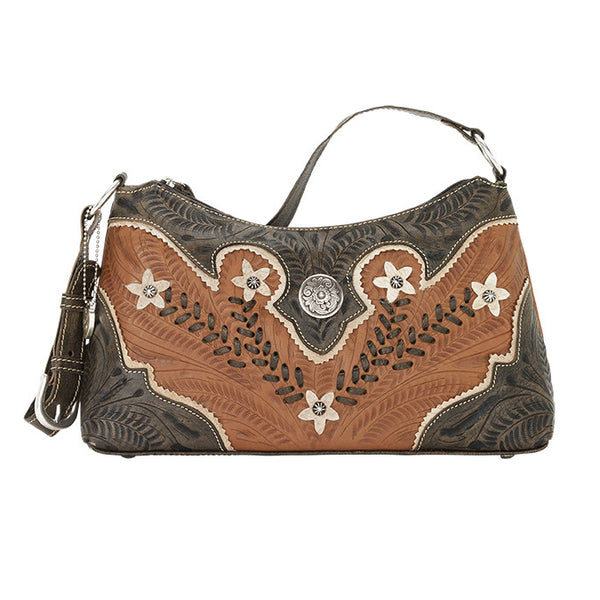 American West Handbag, Desert Wildflower Collection: Western Shoulder Bag Front Golden Tan