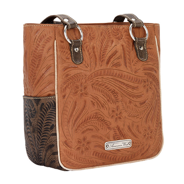 American West Handbag Wildflower Collection: Zip Top Shoulder Ivory Flowers Golden Tan Back