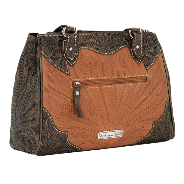 American West Handbag, Desert Wildflower Collection: Multi-Compartment Organizer Tote Back Golden Tan