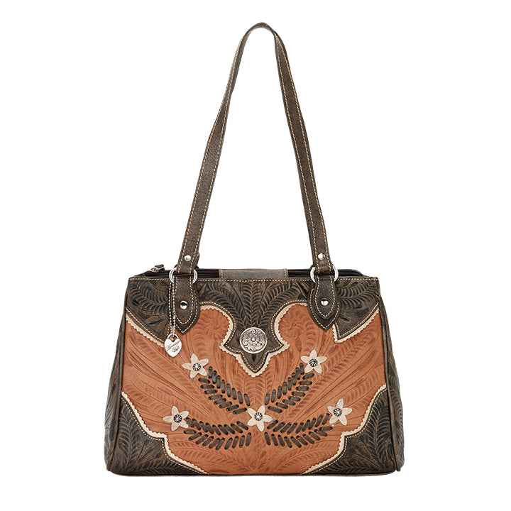 American West Handbag, Desert Wildflower Collection: Multi-Compartment Organizer Tote Front Golden Tan