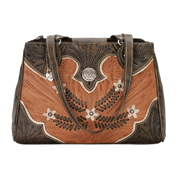 American West Handbag, Desert Wildflower Collection: Multi-Compartment Organizer Tote Front Antique Brown
