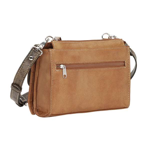 American West Handbag, Desert Wildflower Western Crossbody and Wallet Golden Tan Front
