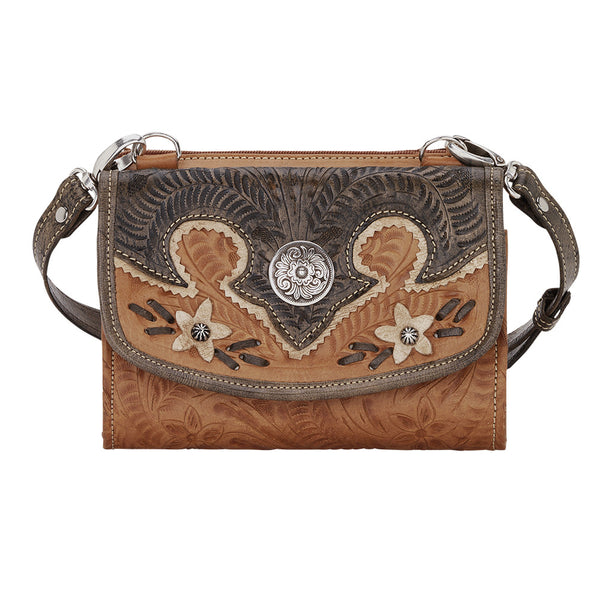 American West Handbag, Desert Wildflower Western Crossbody and Wallet Natural Tan Front