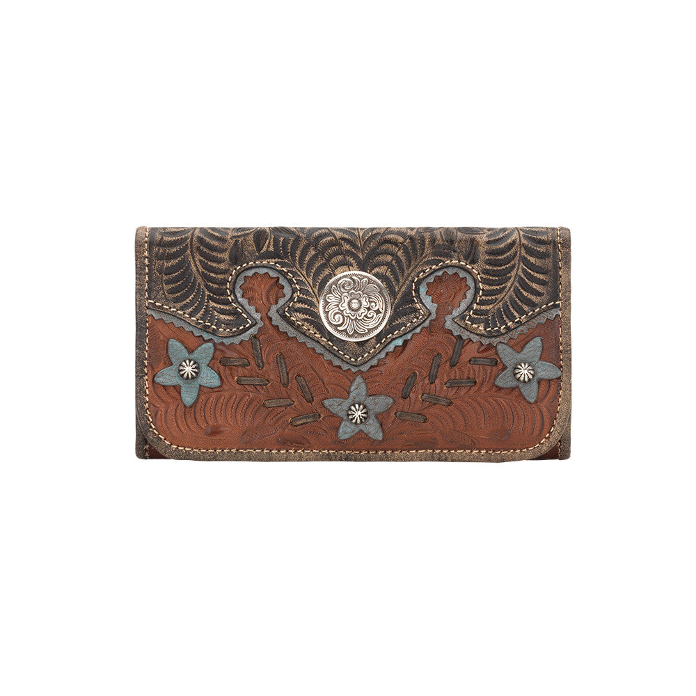 American West Handbag, Wildflower Desert Tri-fold Wallet Front Antique Brown