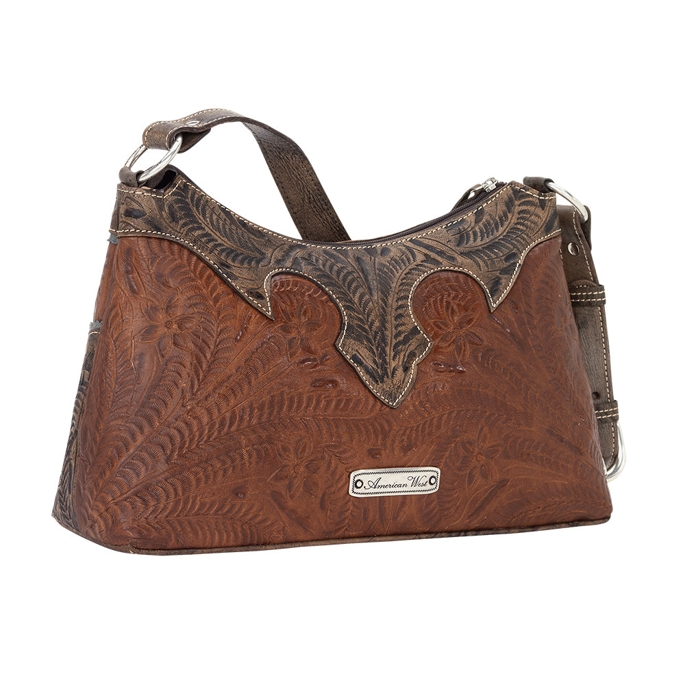 American West Handbag, Desert Wildflower Collection: Western Shoulder Bag Back Antique Brown