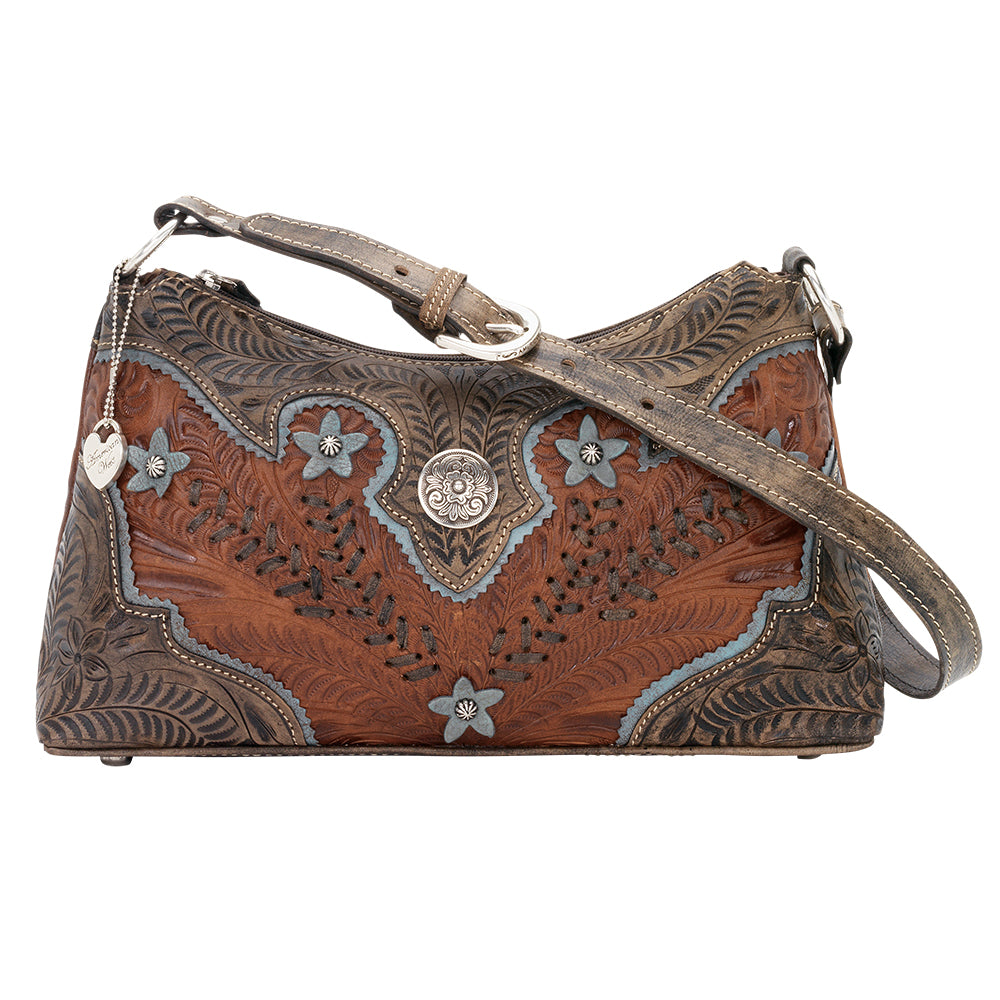 American West Handbag, Desert Wildflower Collection: Western Shoulder Bag Front Antique Brown