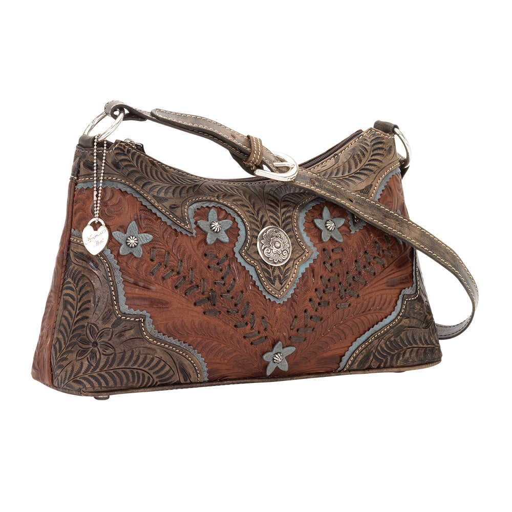 American West Handbag, Desert Wildflower Collection: Western Shoulder Bag Side Antique Brown