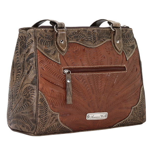 American West Handbag, Desert Wildflower Collection: Multi-Compartment Organizer Tote Back Antique Brown