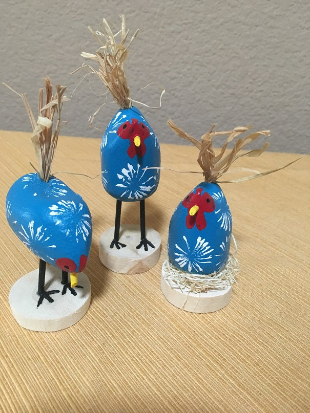 Edith John Hand Carved XSmall Chickens Blue