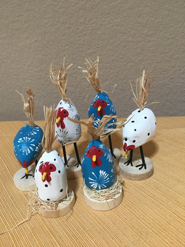 Edith John Hand Carved XSmall Chickens Assorted