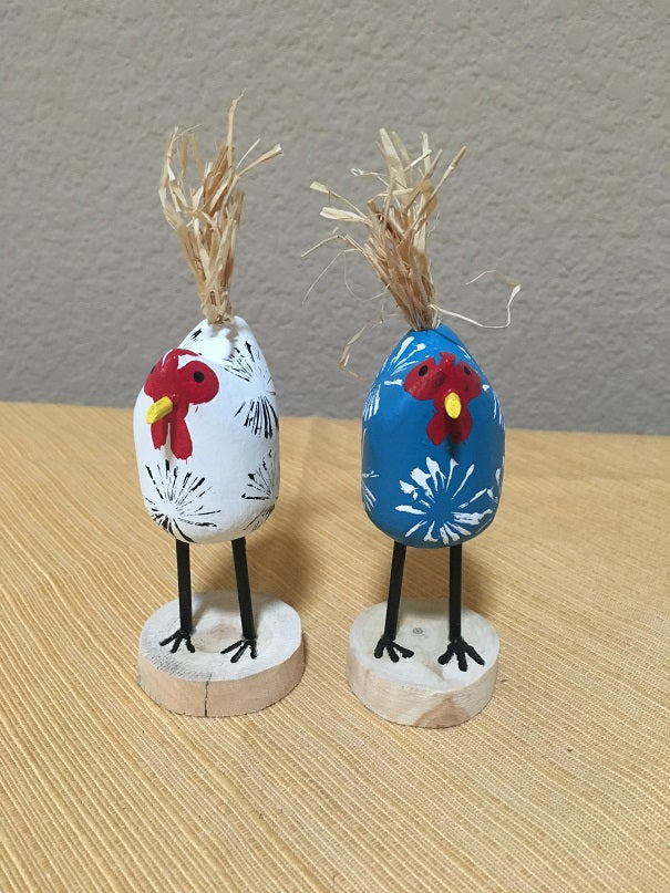 Edith John Hand Carved XSmall Chickens Standing Front