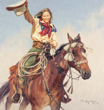 "Art Ceramic Tile ""Yippee Yi Yea"" by Western artist Terri Kelly Moyers"