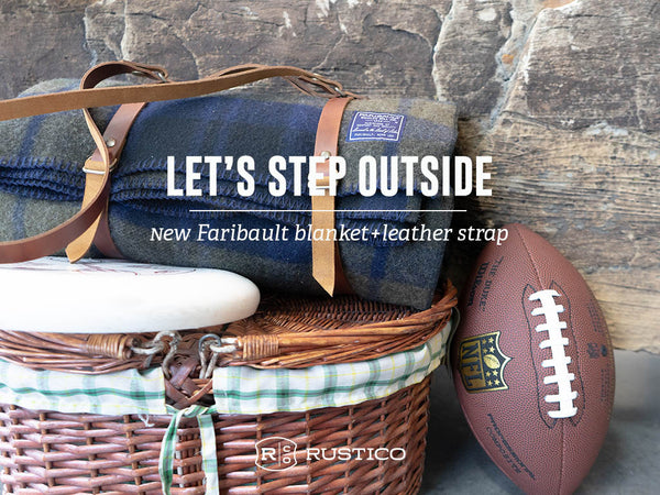 Faribault Blanket and leather Carrier