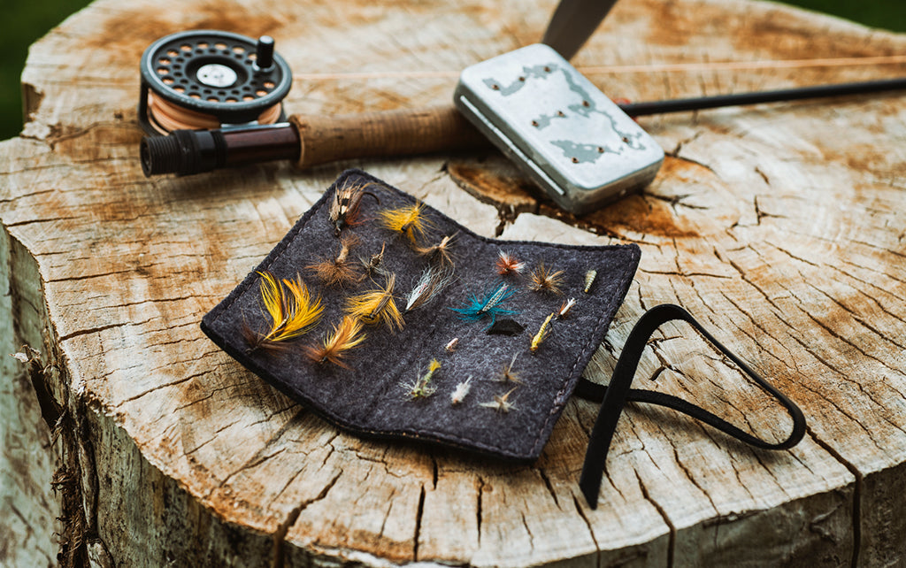 leather book of flies fly fishing