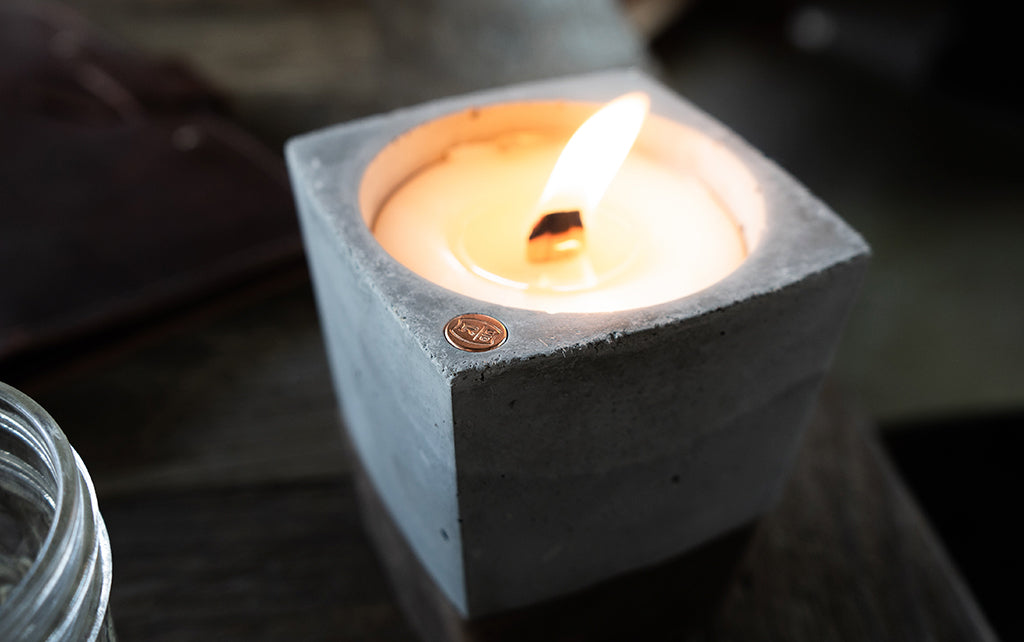 leather rustic candle