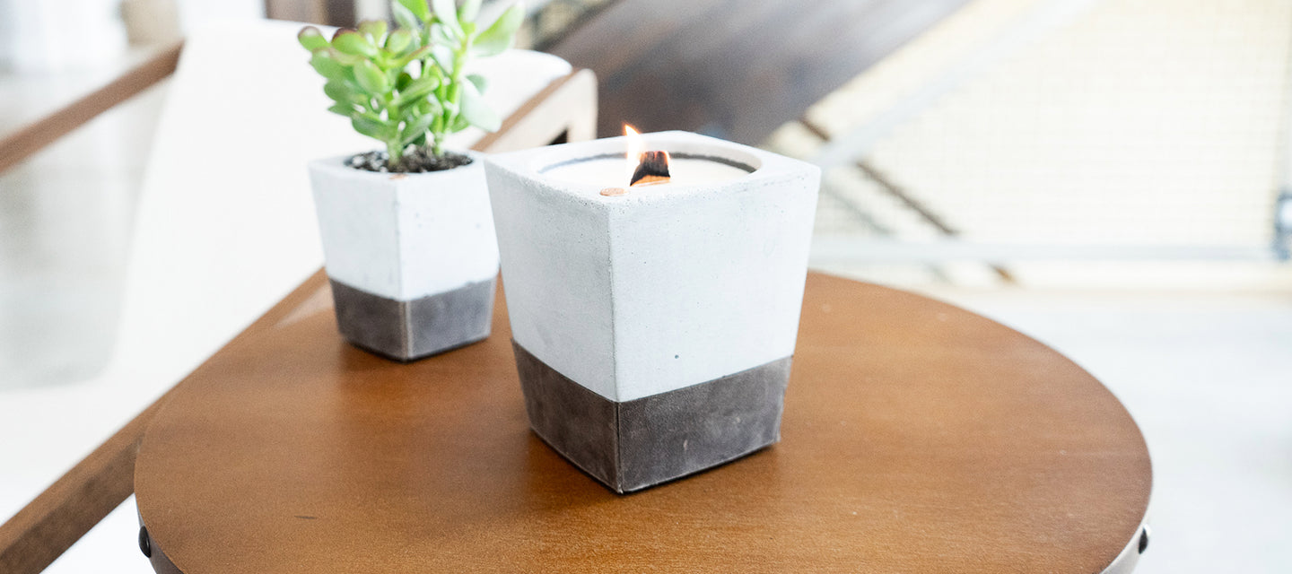 Rustic candle leather