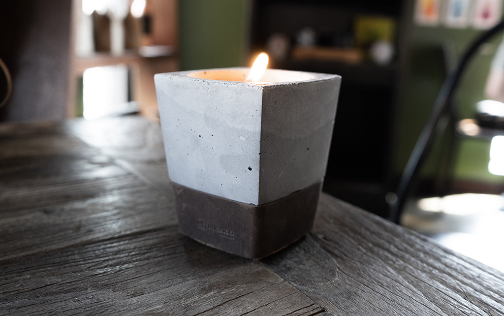 leather candle rustic